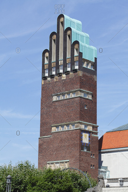 August 7, 2016: Mathildenhöhe with the wedding tower, mathildenhohe, darmstadt, hesse, Germany, europe