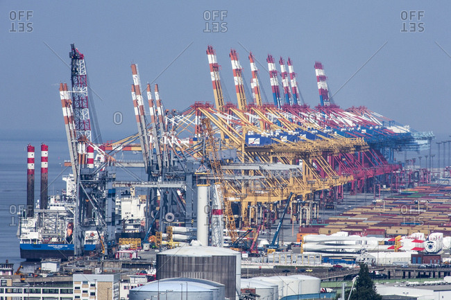 July 10, 2014: Container terminal wilhelm kaisen terminal, riverside quay, portal cranes, bremerhaven, bremen, Germany