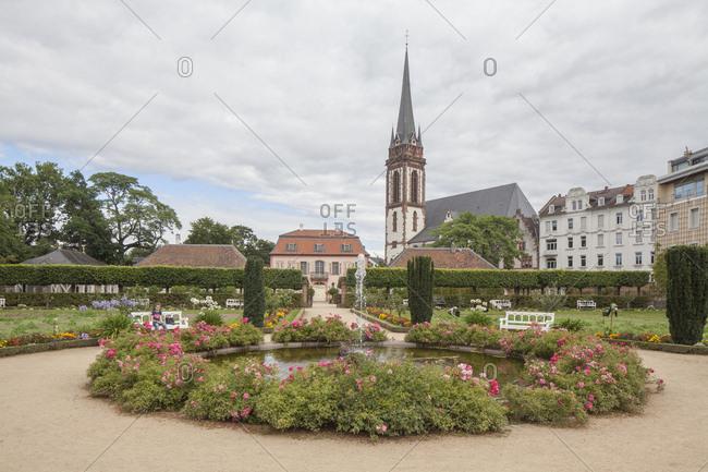 August 8, 2016: Prinz georg garden, church st. elisabeth, darmstadt, hesse, Germany, europe