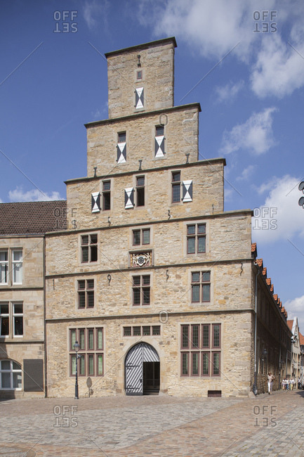 July 31, 2014: Historical gabled house stadtwaage on the market square, Osnabruck, lower saxony, Germany, europe