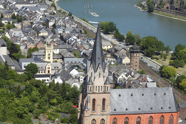 Church of our lady with old town, oberwesel, unesco world heritage upper middle rhine valley, rhineland-palatinate, Germany, europe