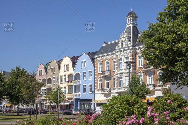 July 11, 2014: Kammererplatz (square) with old houses, north sea spa cuxhaven, lower saxony, Germany, europe