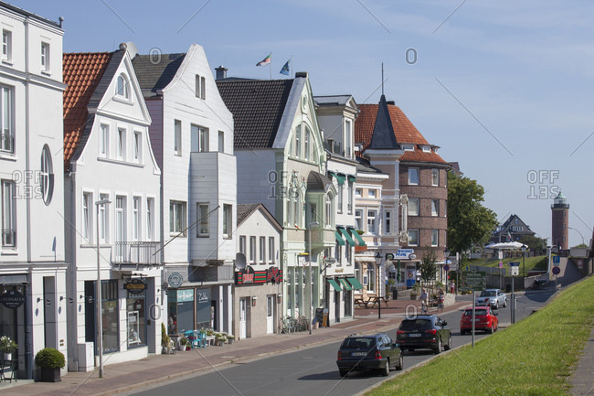 July 11, 2014: Old houses in deichstrasse, north sea spa cuxhaven, lower saxony, Germany, europe