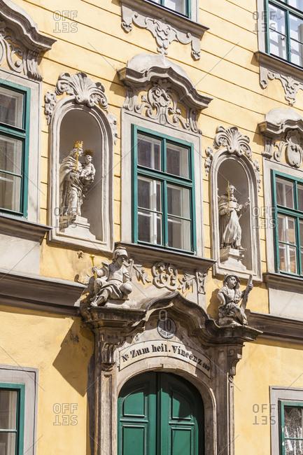 July 28, 2016: Austria, vienna, spittelberg, part of town, hotspot, stiftsgasse, biedermeier period house, facade