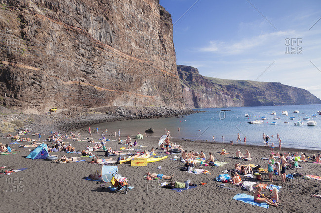 December 29, 2014: Beach in the district vueltas in valle gran rey, la gomera, canary islands, spain