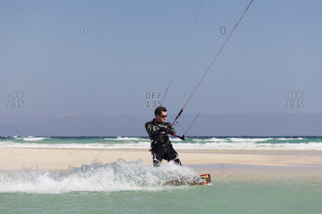 January 6, 2012: Kitesurfer, risco del paso, fuerteventura, canary islands, spain