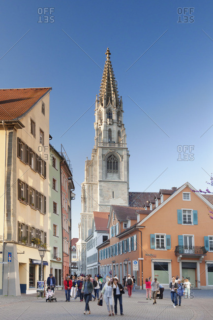 May 6, 2016: Pedestrian area with view at minster, constance, lake constance, baden-wuerttemberg, Germany