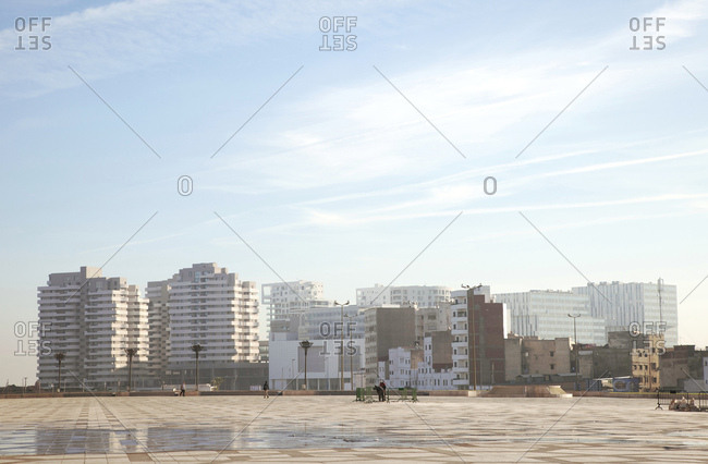 December 5, 2015: Casablanca, square, architecture, morocco on a beautiful day