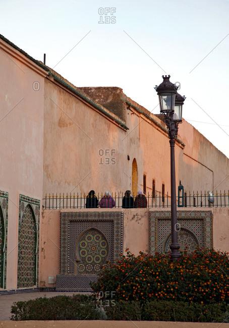 December 3, 2015: Meknes, mausoleum, architecture, morocco at sunset