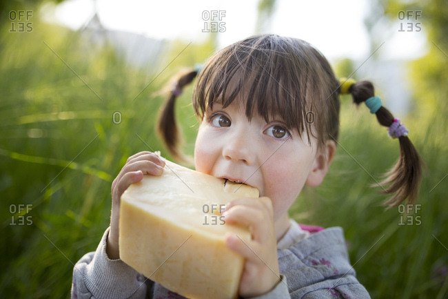 4-6 years old child eating a big piece of cheese on green meadow