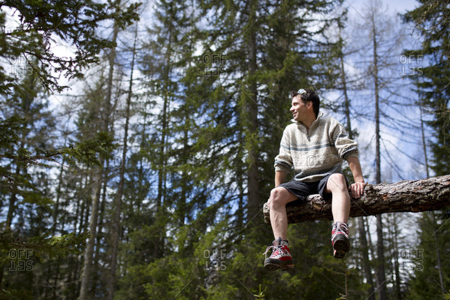 30-40 years old man sitting on solitary trunk in the forest, view in the distance
