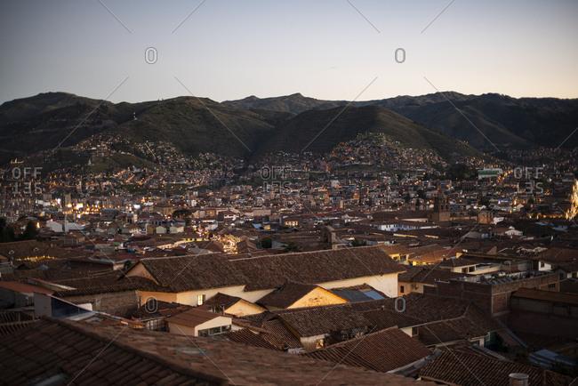 Sunset view of Cusco, Peru