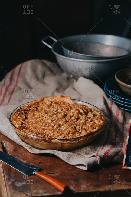 Fresh baked homemade apple crumble