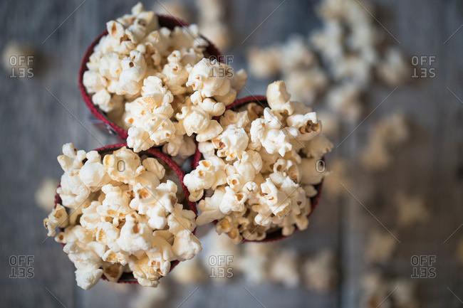 Top view of cones of popcorn