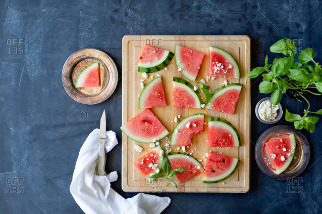 Overhead view of watermelon and feta cheese