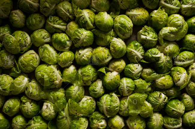 Full frame shot of seasoned Brussels sprouts