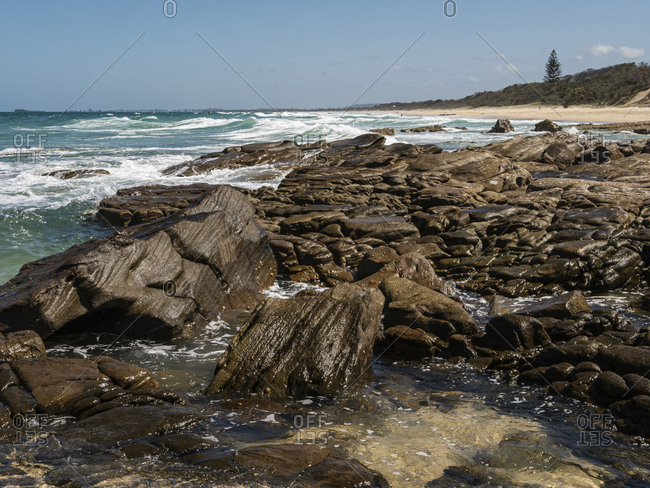 Beautiful rocks on the coast at Point Arkwright, Sunshine Coast, Australia