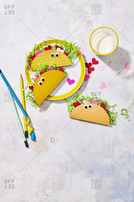 Homemade valentine's day card with tacos