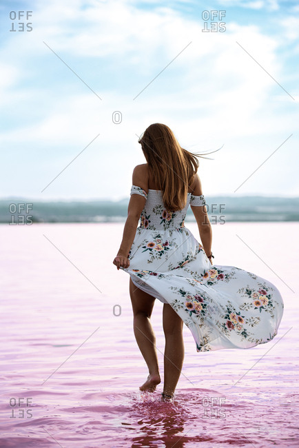 Back view of romantic female in flowing gentle dress walking in shallow water of exotic pink lake at Torrevieja at Spain