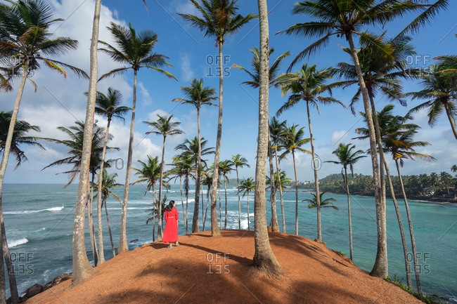 Tranquil female traveler among palms at seashore