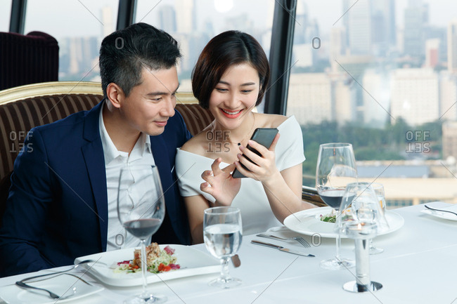 Young couples in the restaurant
