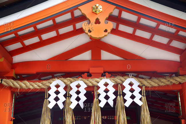 Front of shrine at the Fall colors surround the Kiyomizu-dera Temple complex, Kyoto, Japan