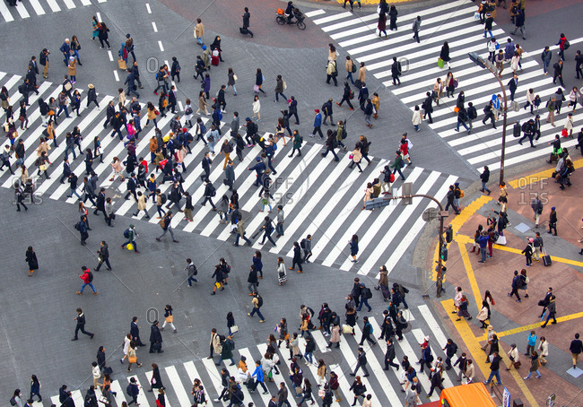 Tokyo, Japan - December 1, 2015: Aerial view of pedestrians crossing street in the Shibuya ward of Tokyo