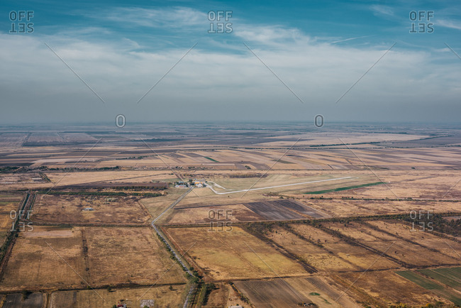 Aerial view of beautiful landscape, South Banat District, Vojvodina, Serbia