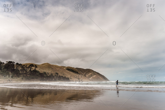 Back view of adolescent boy running into the water at a beach