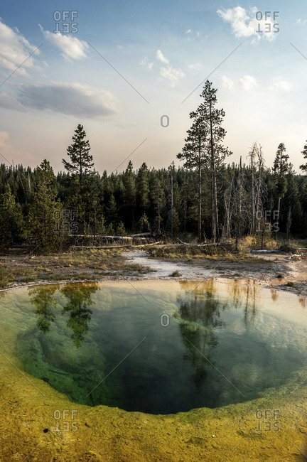 Scenic view of hot spring by trees against sky at Yellowstone National Park during sunset