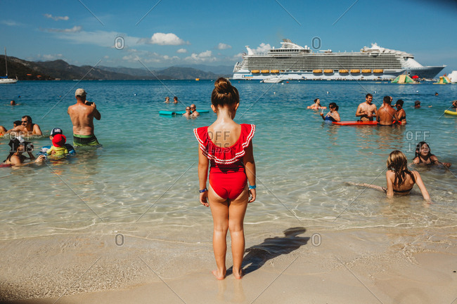 Haiti - March 12, 2019: Cruise Ship excursions with Kids in the Gulf of Mexico