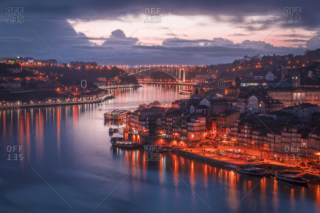 Porto, Portugal - May 5,  2019: The city of Porto in the evening