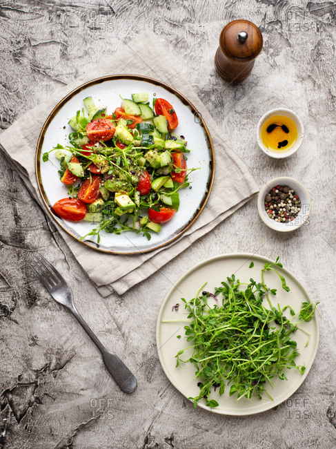 Vegetable salad with fresh tomatoes, avocado, cucumber and greens