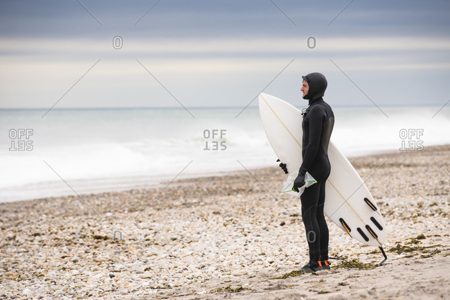 Picking up trash during a surf session