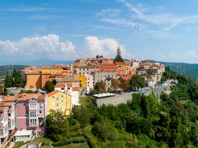 September 1, 2019: Aerial view of the mountain city of Labin surrounded by nature, Istria, Croatia.