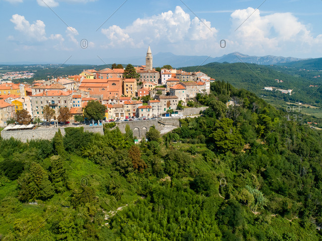 Aerial view of the mountain city of Labin surrounded by nature, Istria, Croatia.