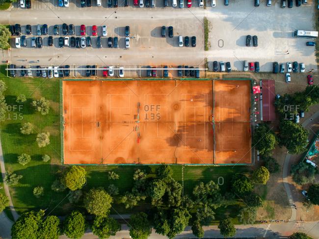 September 1, 2019: Aerial view above empty tennis courtyard at Umag, Croatia.