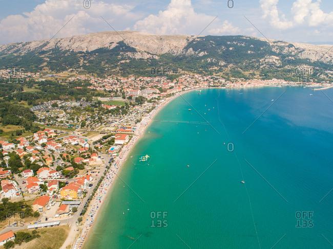 Aerial view of Baska coastal cityscape during the summer, Croatia.