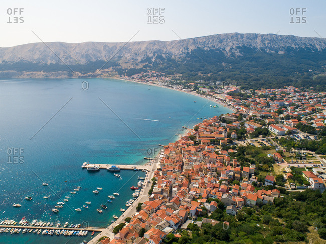 September 2, 2019: Aerial view of Baska coastal cityscape during the summer, Croatia.