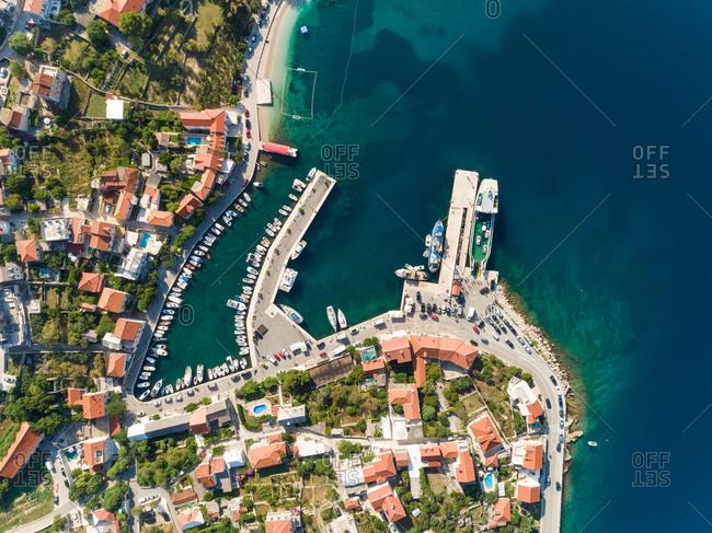 Aerial view of Sumartin coastal line during the summer, Croatia.