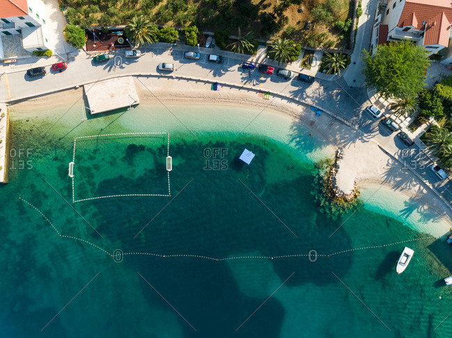 Aerial view of empty beach at Sumartin coastal line during the summer, Croatia.