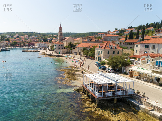 August 1, 2019: Aerial view of Sutivan cityscape during the summer, Croatia.