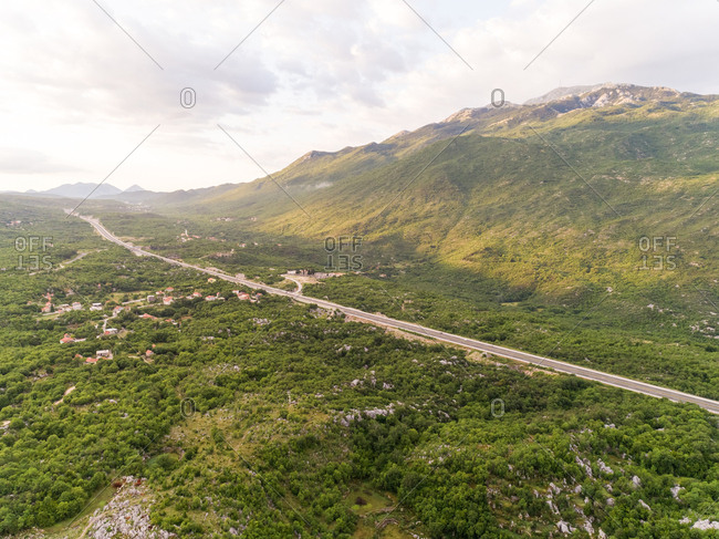 Aerial view of highway E65 crossing Blato Na Cetini, Croatia.