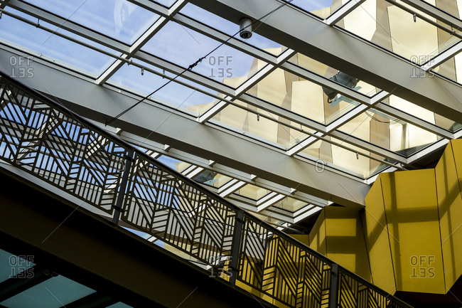 October 4, 2019: Detail of the interior of the Alexa Mall at Alexanderplatz, Berlin, Germany.
