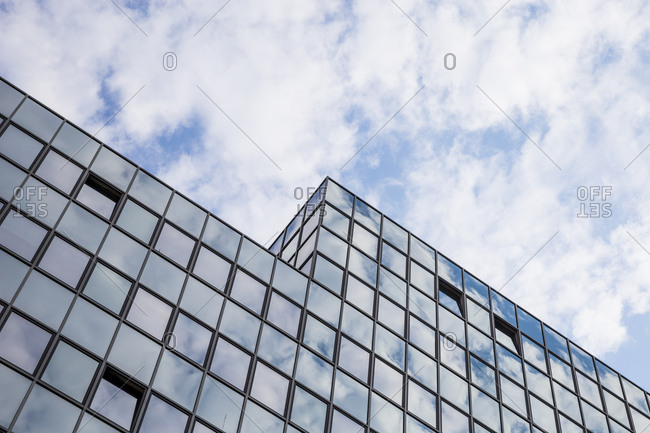 The glass windows and facade of the Platinum office block in the Schoneberg area of Berlin, Germany