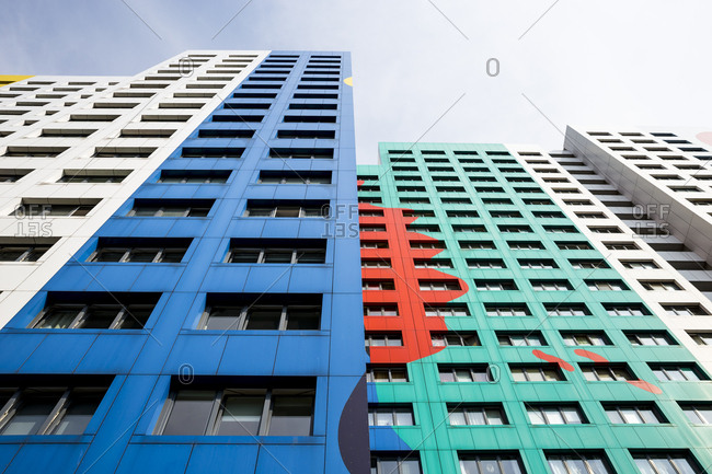 The colourful facade of an apartment tower block in Berlin, Germany