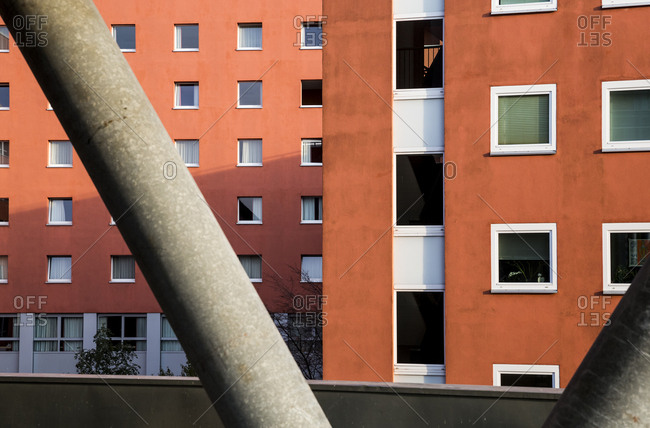 October 23, 2019: A terracotta coloured building in Berlin, Germany.