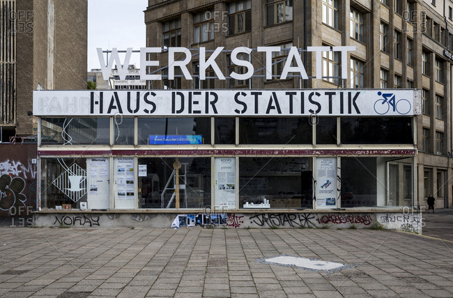 October 4, 2019: The abandoned Haus der Statistik in central Berlin, Germany.