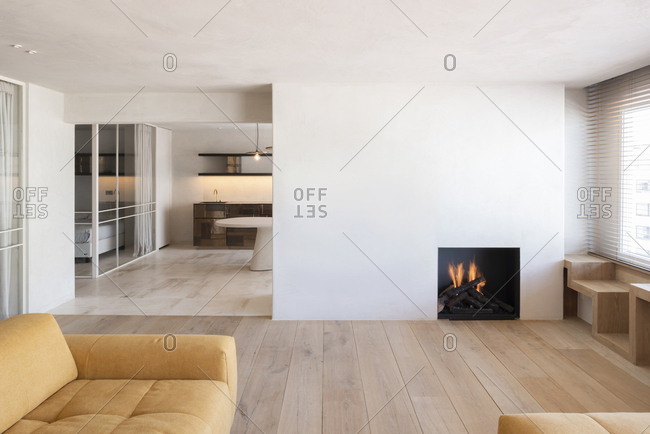 Minimalistic modern home interior with fireplace