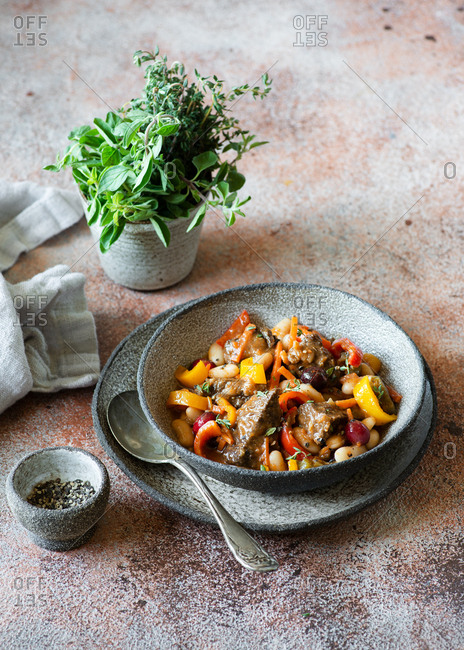 Beef stew with carrot, peppers, beans and cranberries